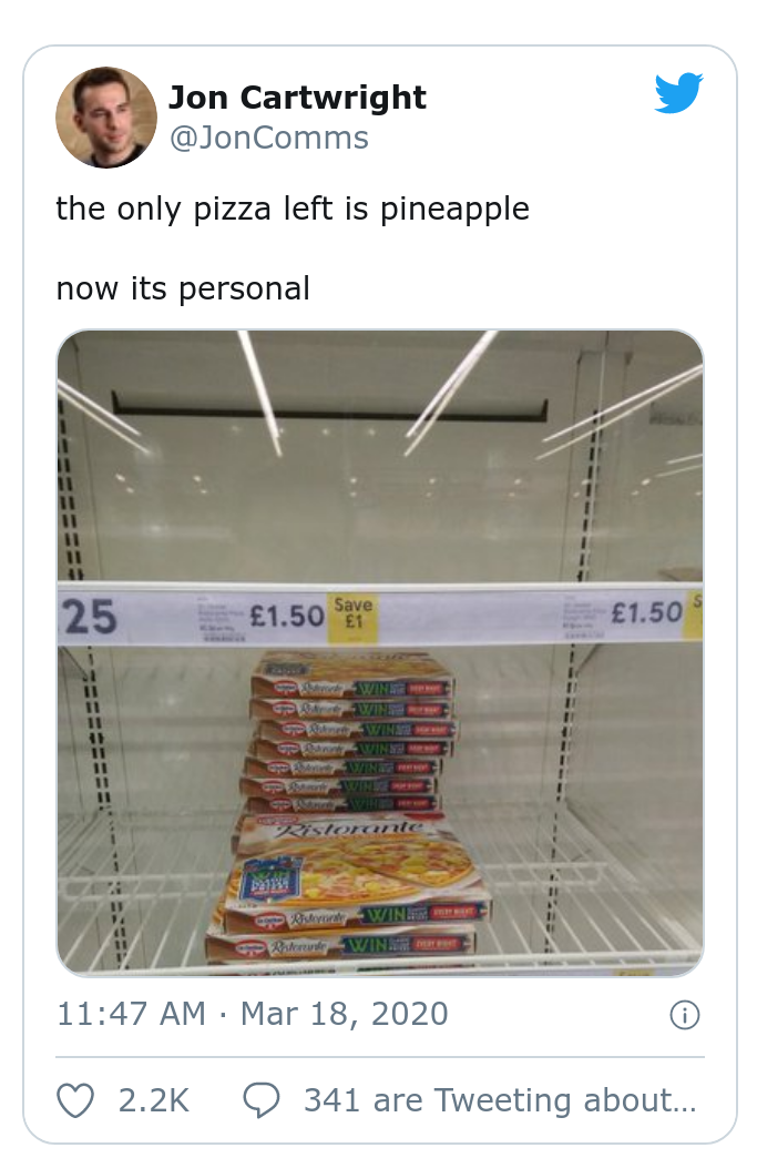 An image of a grocery with only pineapple pizza let in the pizza section.