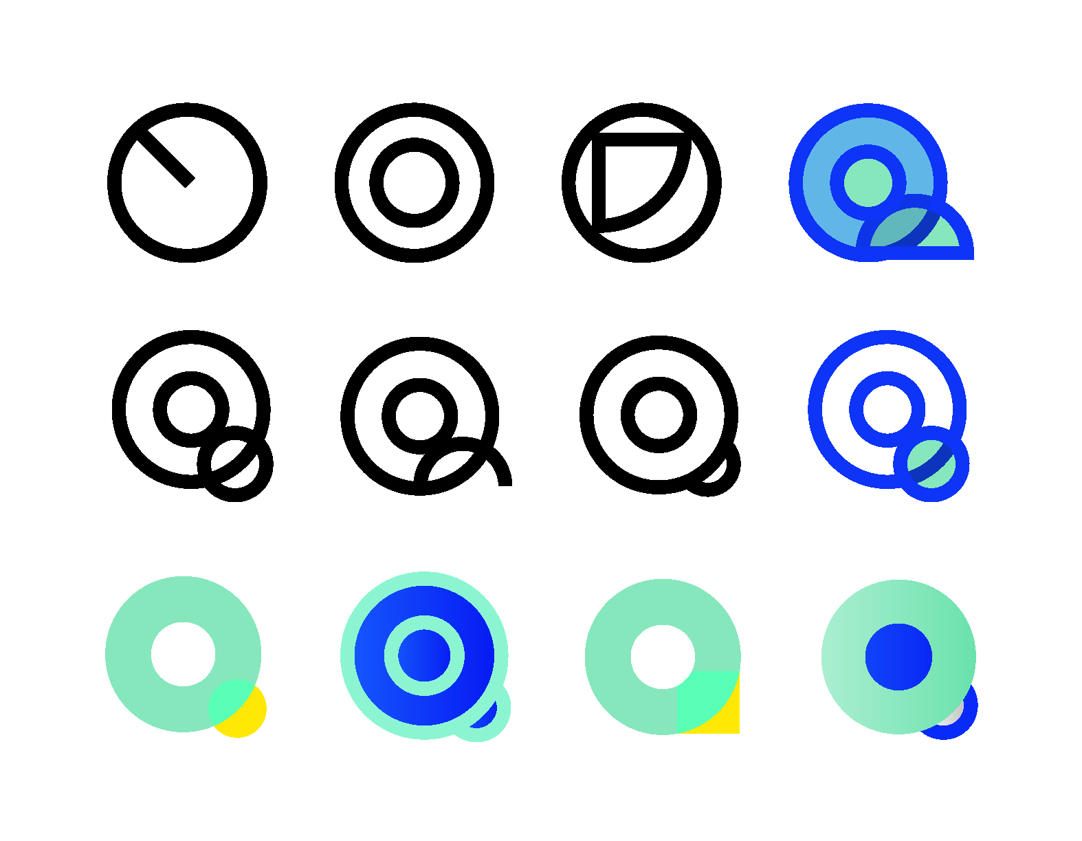 Different circular representation of the letter Q