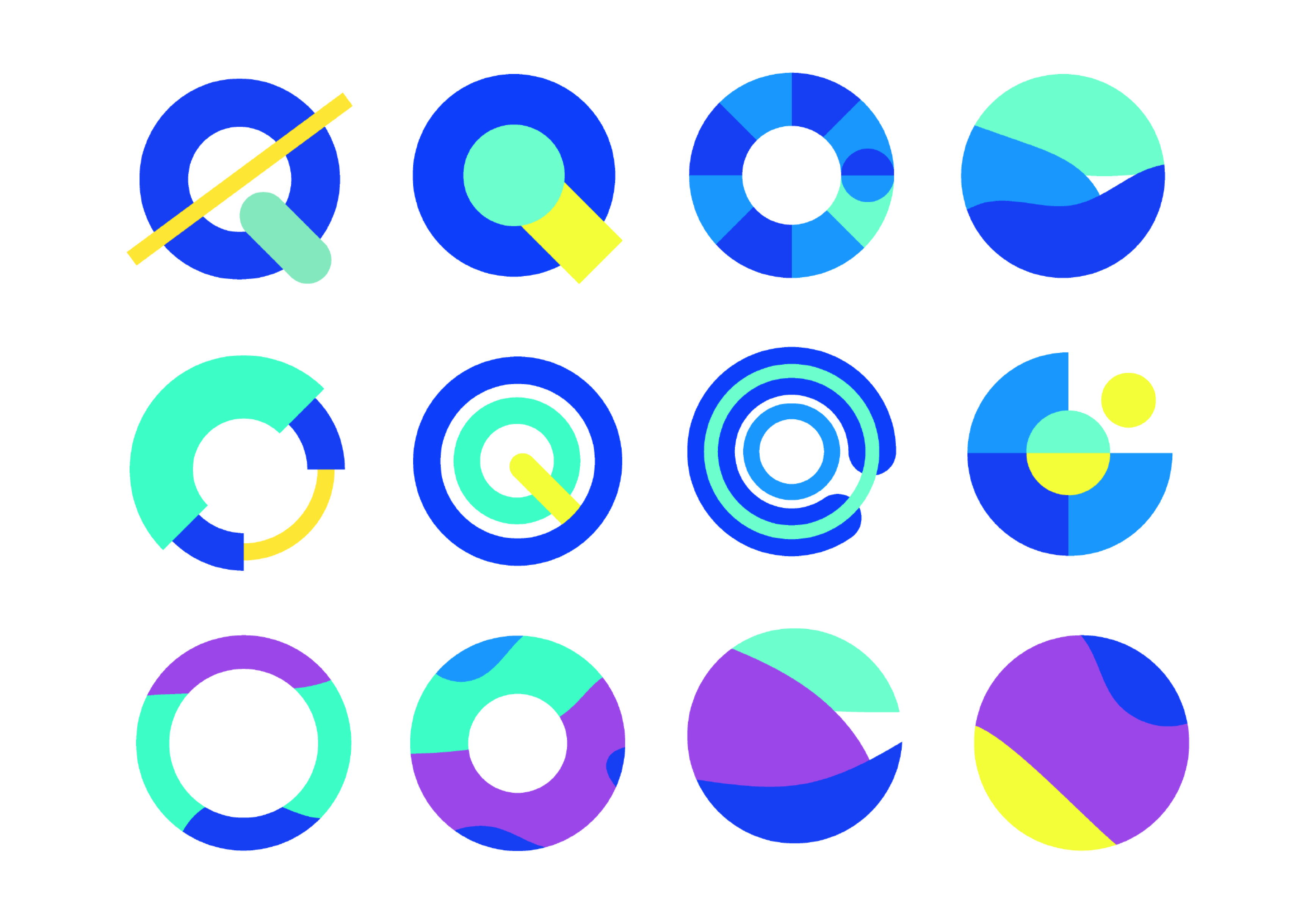 Different variations of circles, budgeting data and the letter Q with different colors.