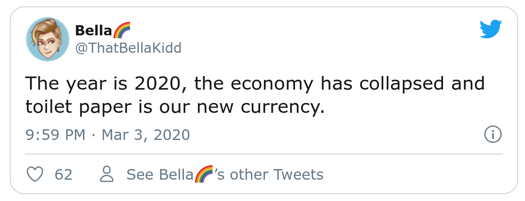 A tweet saying that the year is 2020, the economy has collapsed and toilet paper is the new currency.