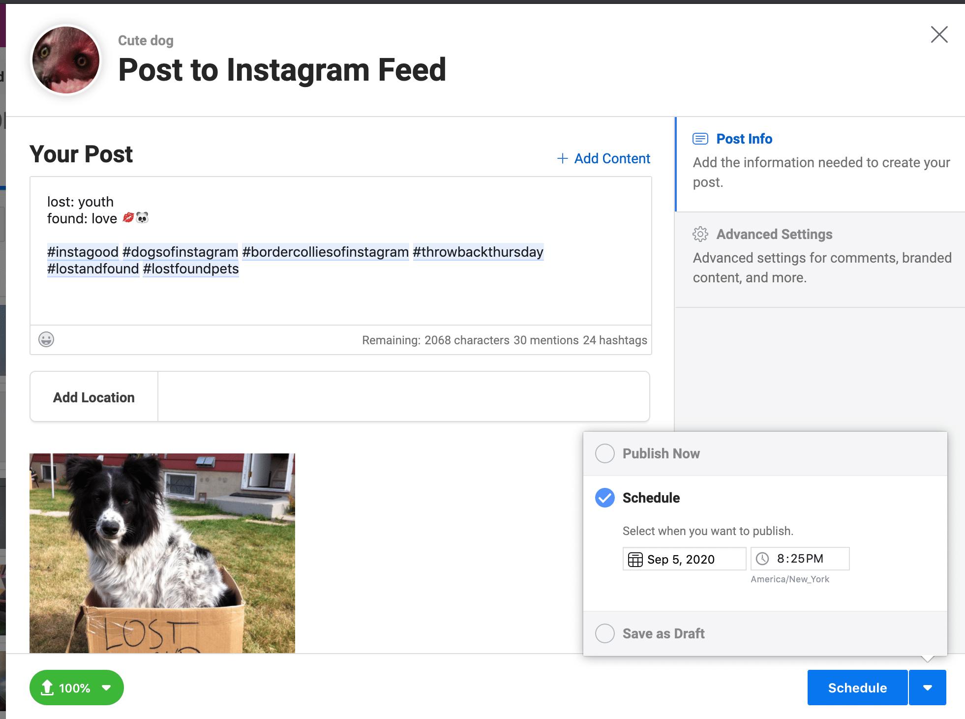 Schedule Instagram post on Creator Studio