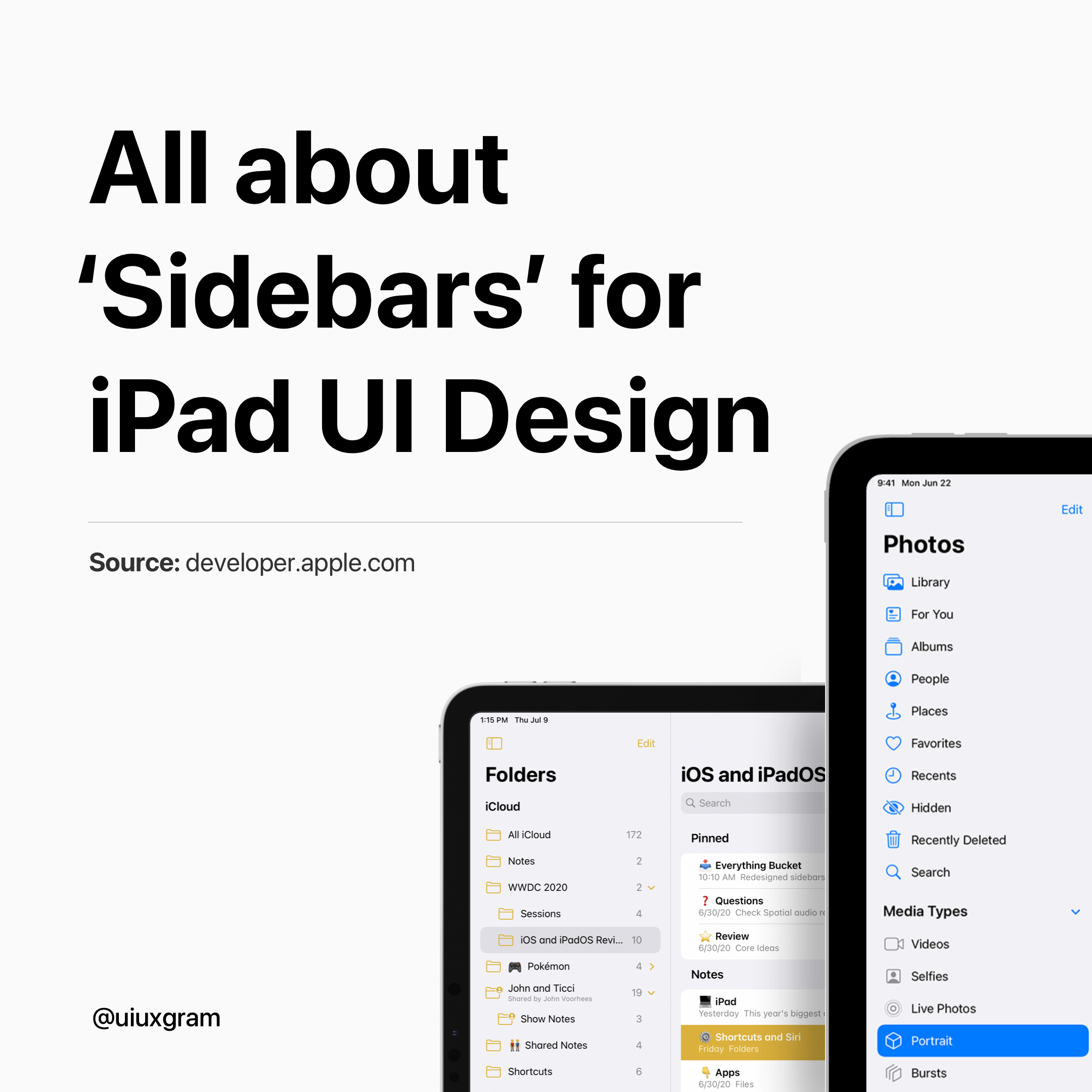 All about 'sidebars' for iPad UI design
