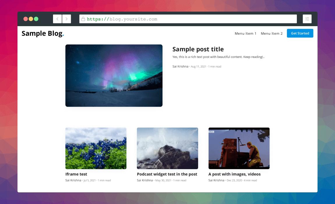 screenshot of superblog's dashboard
