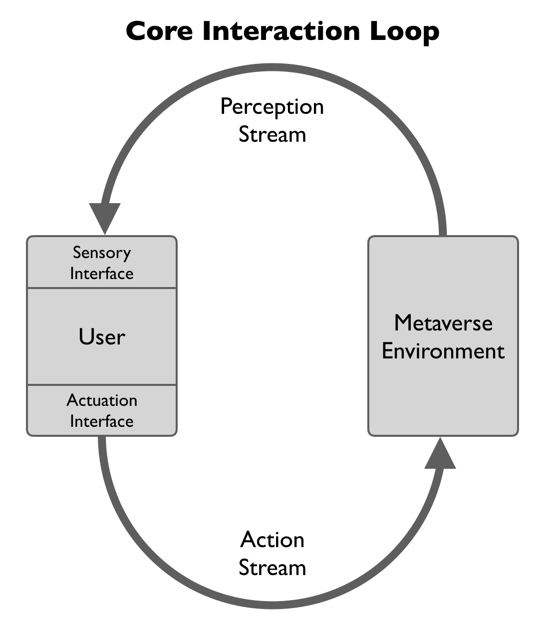 The core interaction loop consists of a user interacting with the metaverse by receiving a perception stream and in turn sending a stream of actions.