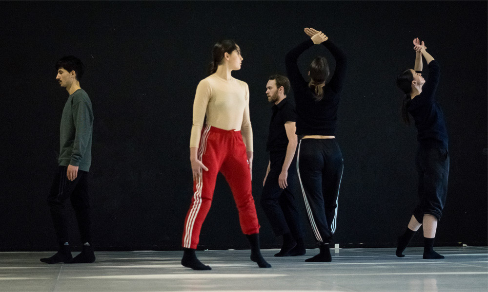 Contemporary dance dancers captured during a rehearsal in Montpellier, France