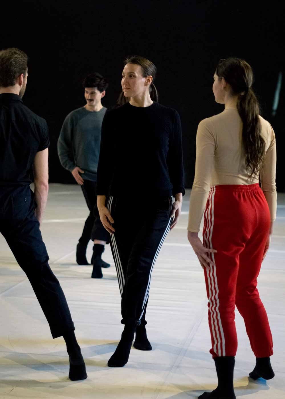 Anna Kempin and other modern dance dancers during a rehearsal of Wilder Shores, choreographed by Michèle Murray