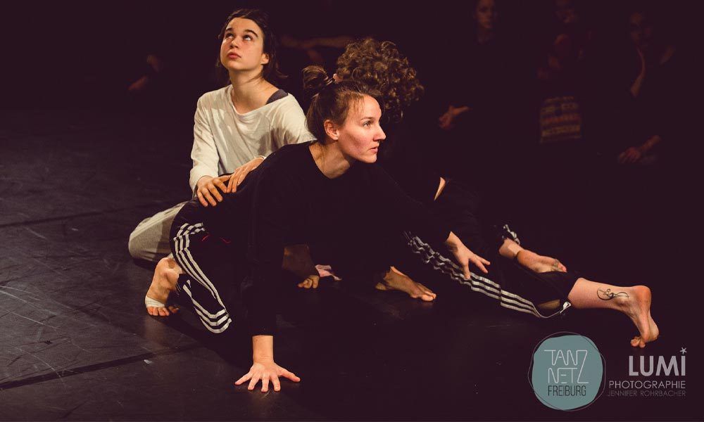 Anna Kempin is captured during dance workshop in Freiburg together with another dancer