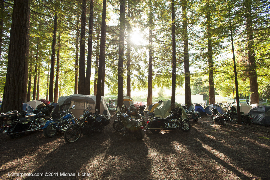 Camping, Redwood Run, 2007, Michael Lichter Motorcycle Photography