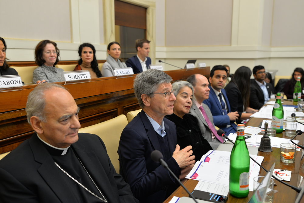 Prof. Jeffrey Sachs welcomes the participants to Casina Pio IV, with Monsignor Sánchez Sorondo directly to his left.  Photo Credits: Gabriella Marino/PAS