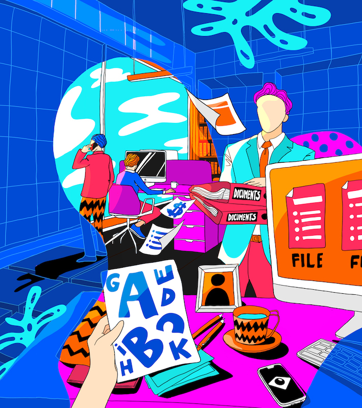 A vibrant illustration of an office environment where the user has access to variety of document types