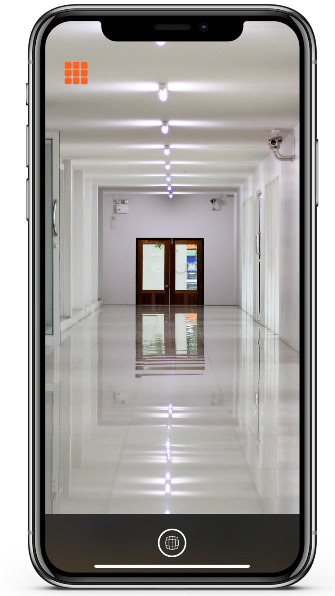 A phone mockup with a screenshot showing Super Lidar seeing an empty corridor detecting it as open space.