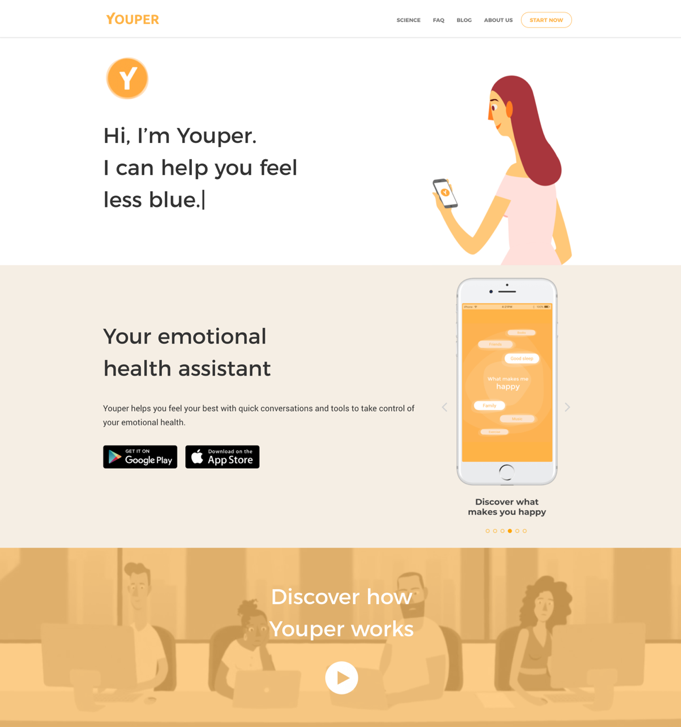 Youper uses neutral, non-exaggerated illustrations to portray emotions.