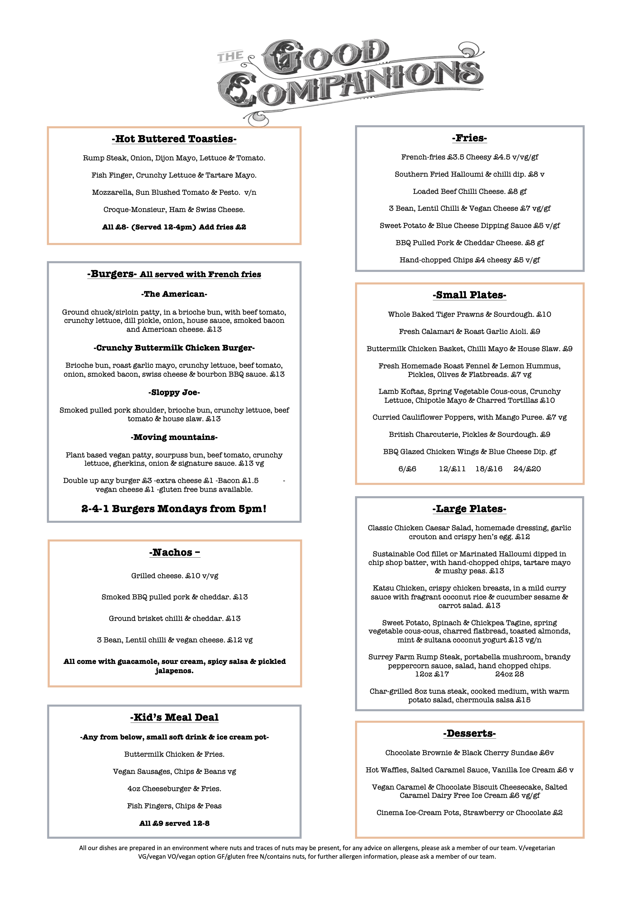 Good Companions' daily food menu from June 2021 onwards