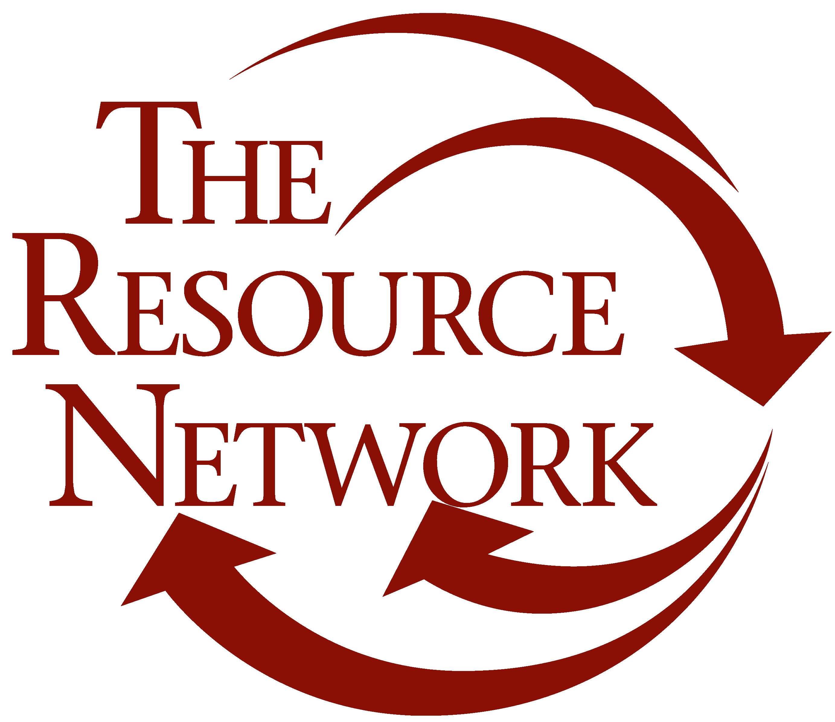 The Resource Network Logo. A red logo with arrows around the letters