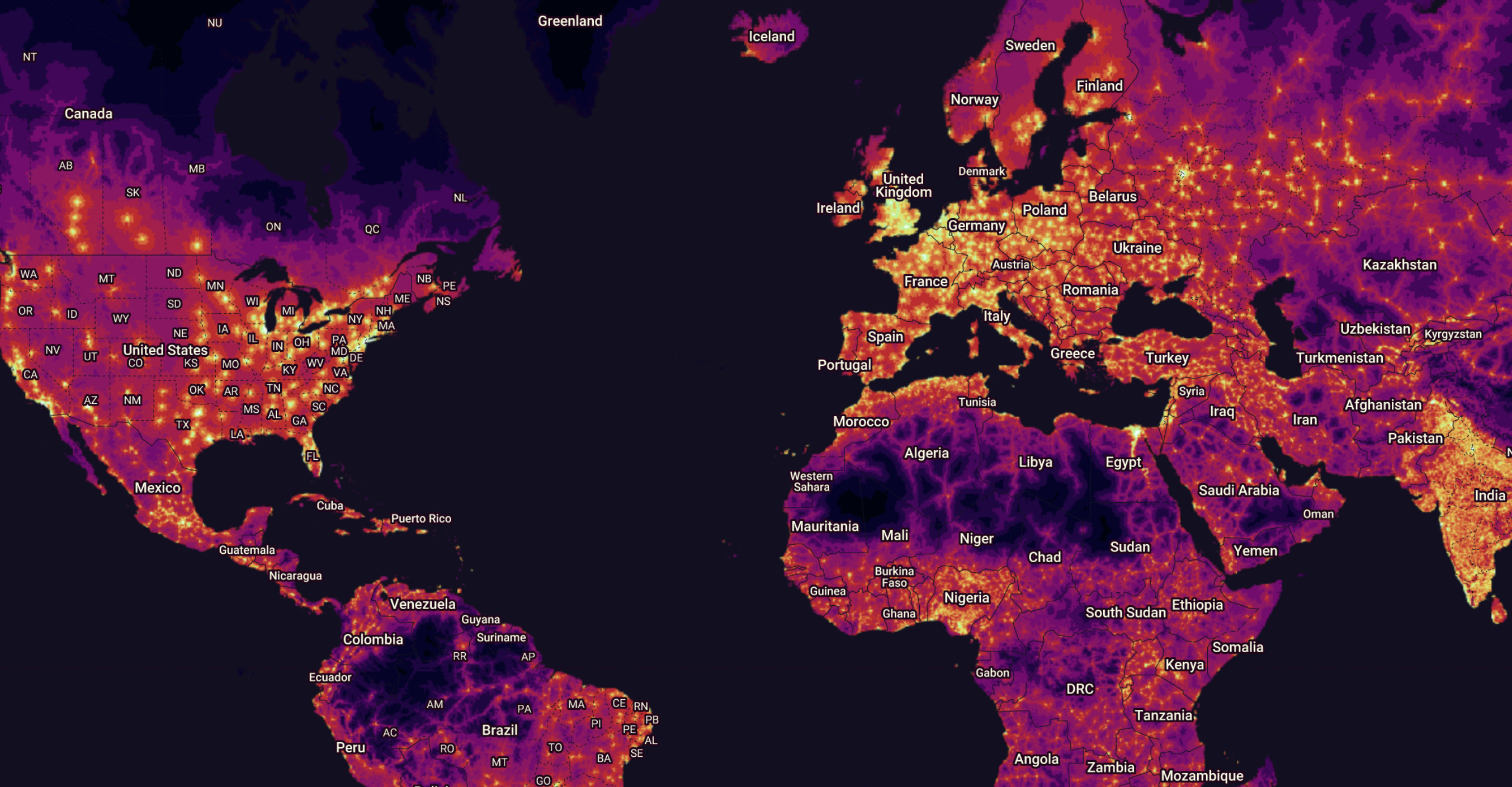 A map of accessibility showing the number of people within one hour of a city