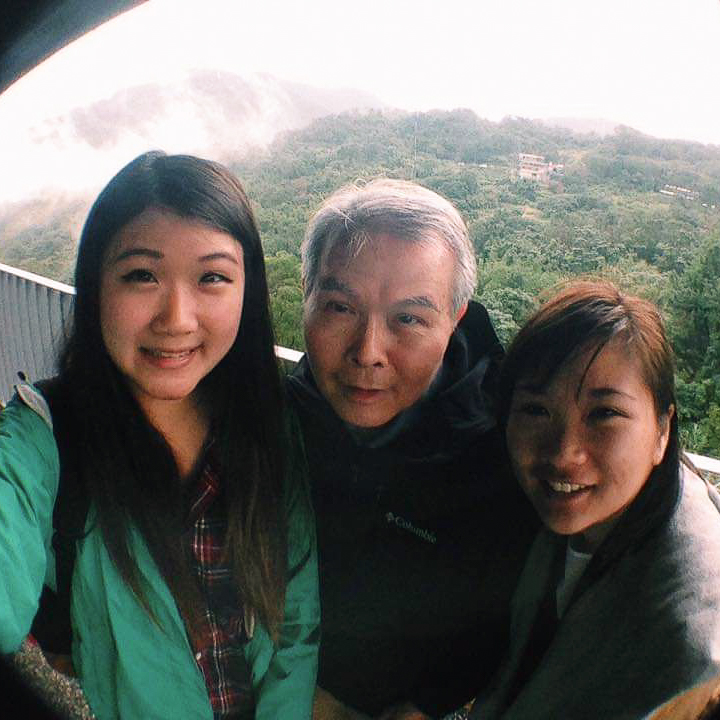 From left to right, Ada's sister Jesse, her dad, and Ada, taking a selfie in Taiwan