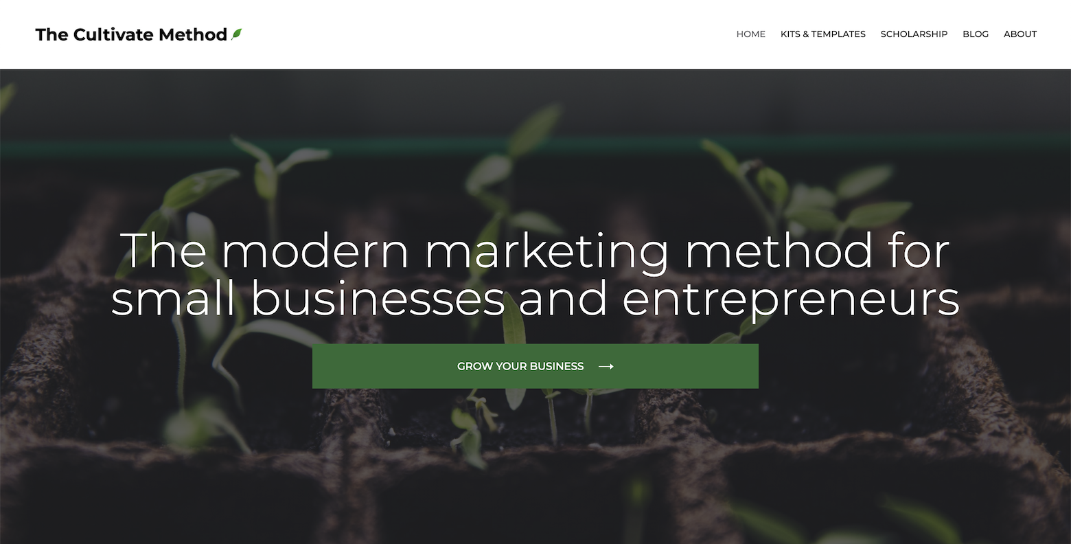Screenshot of the homepage of Ada's blog, The Cultivate Method. This page has a background of plant sprouts and the headline: The modern marketing method for small businesses and entrepreneurs.