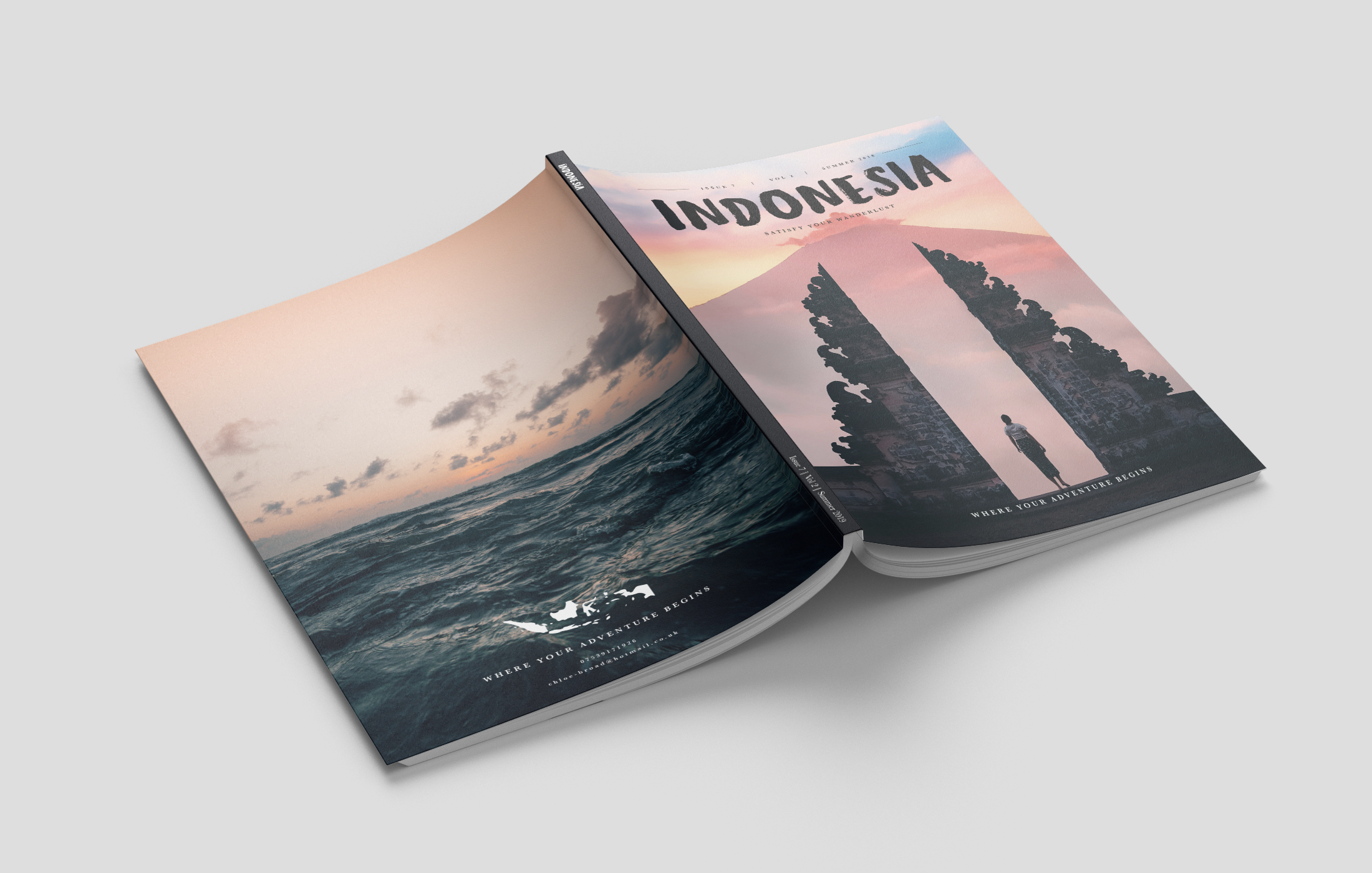 Magazine design spread open with a sunset on the back page and an Indonesian volcano sunset on the front page