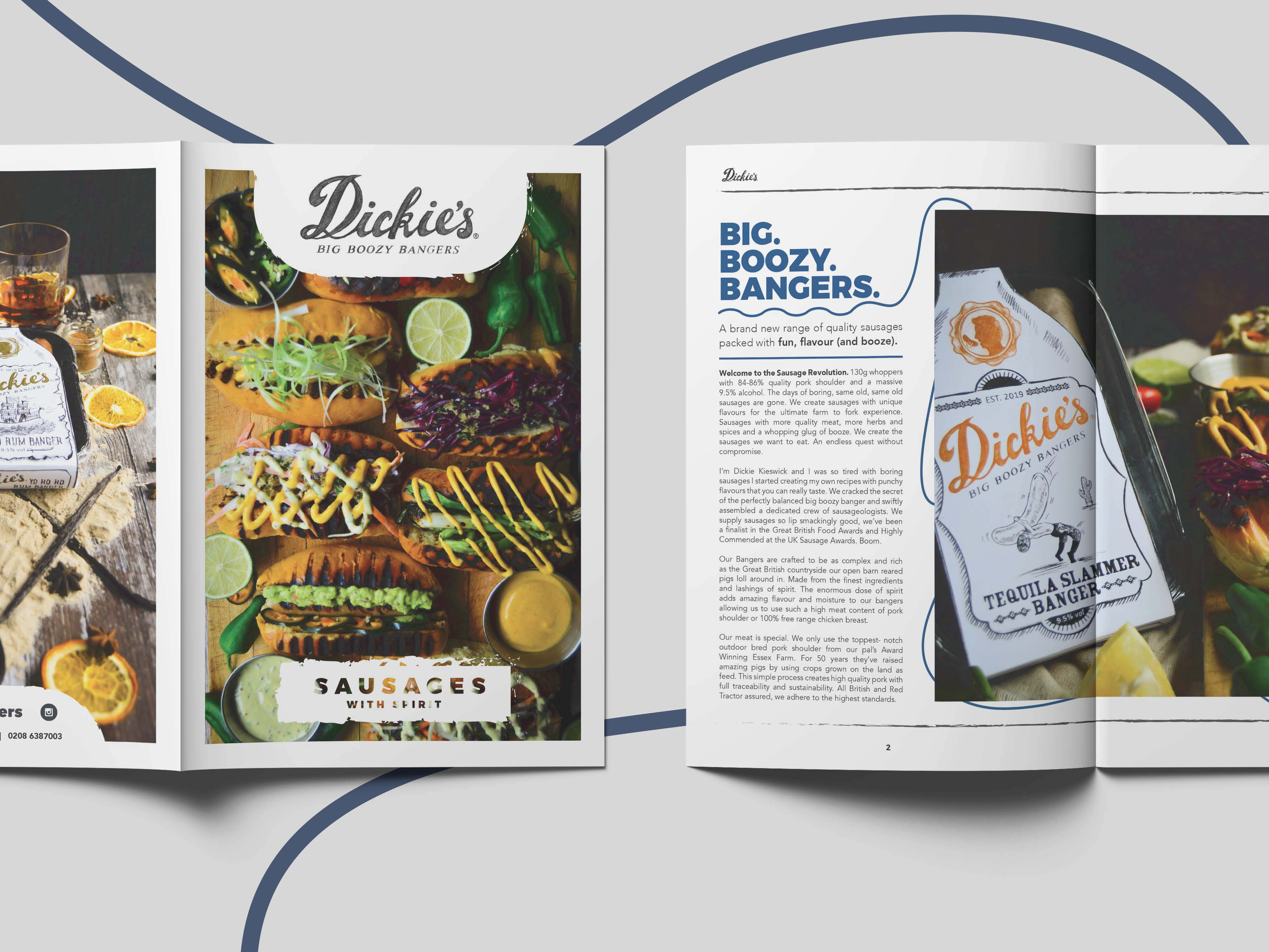 A brochure design of a front cover and inside pages with images of sausages and squiggly lines around the text