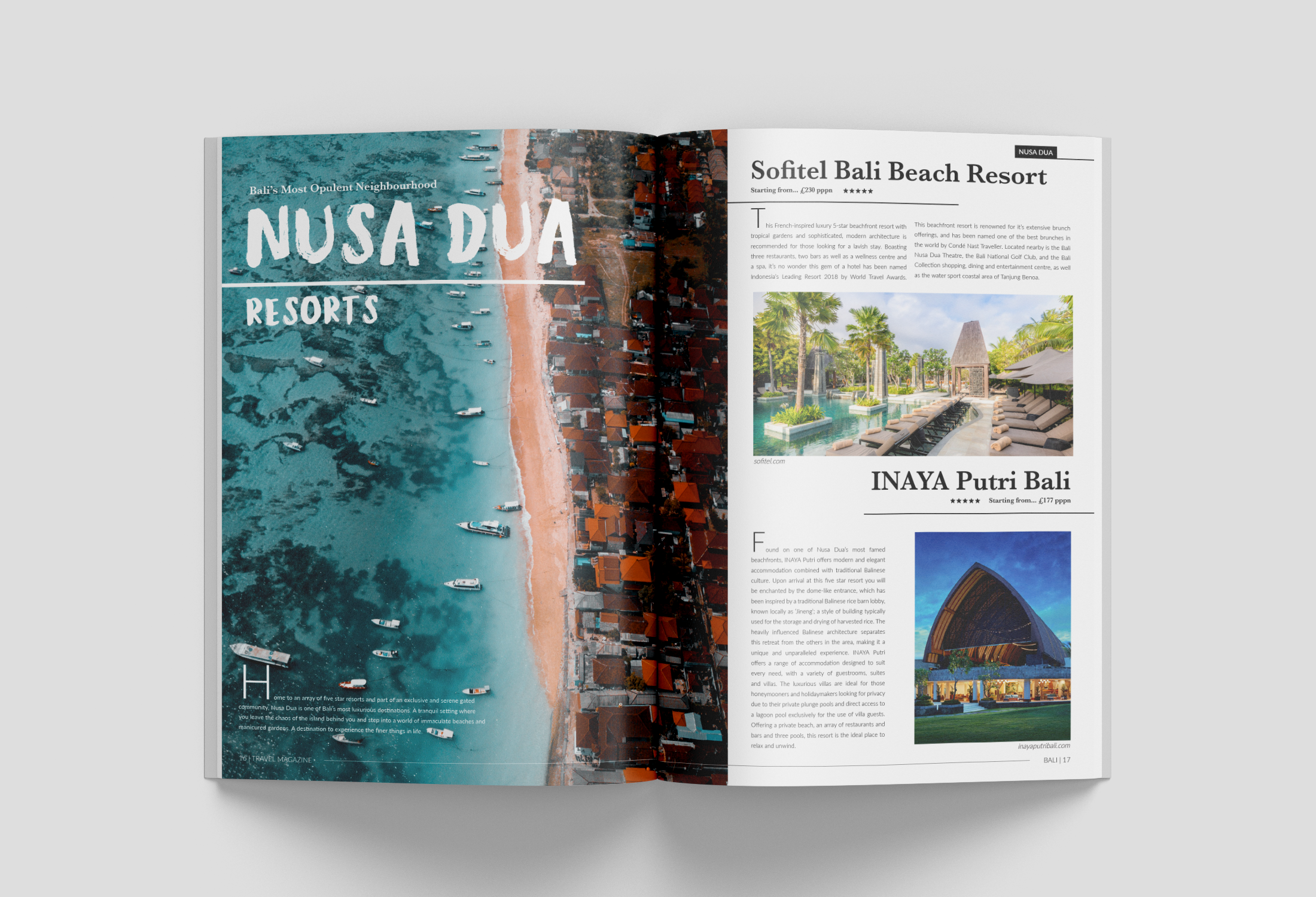 Brochure design for a travel company displaying hotel options in Nusa Dua resort