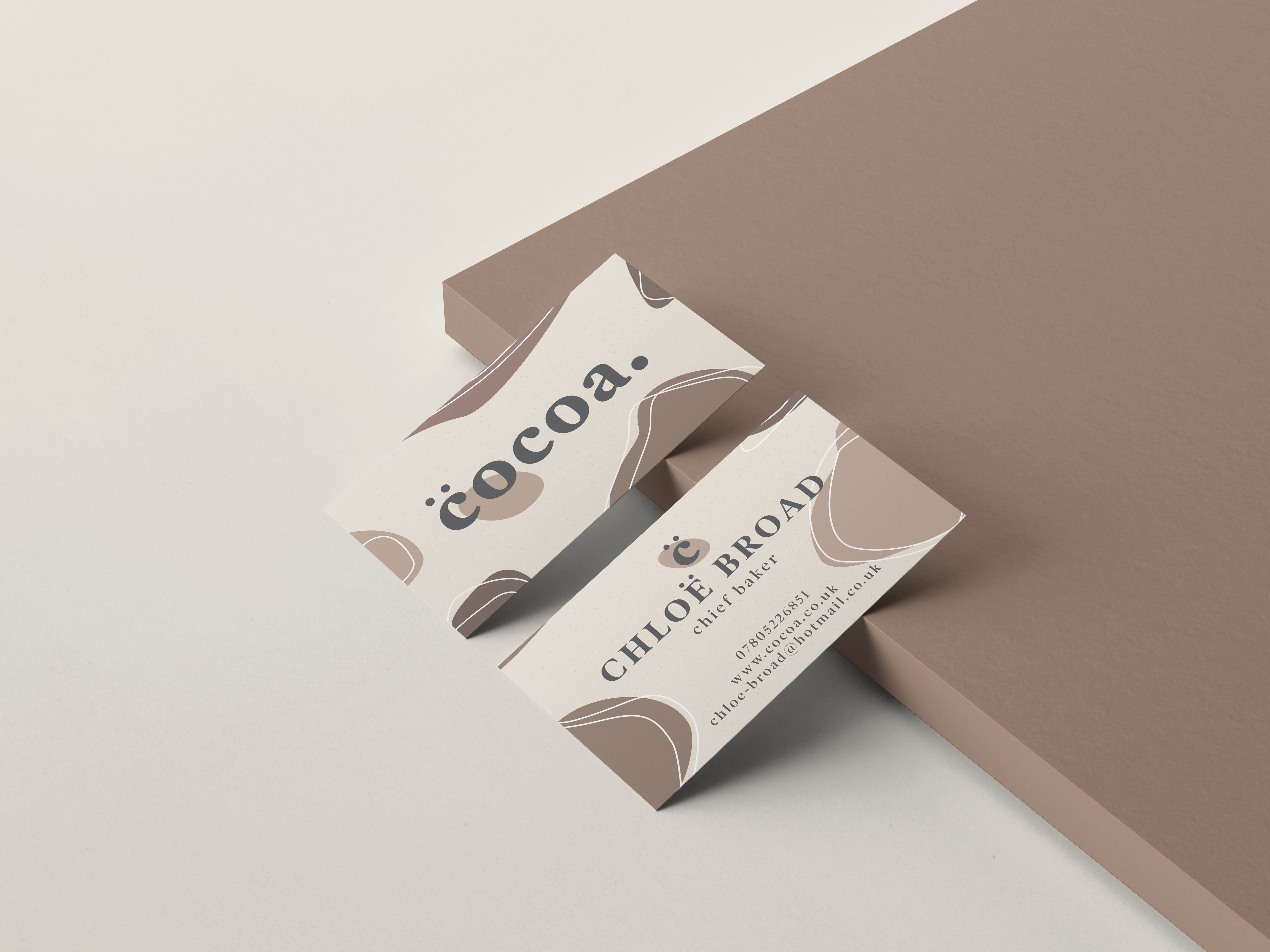A business card design for a company called cocoa.