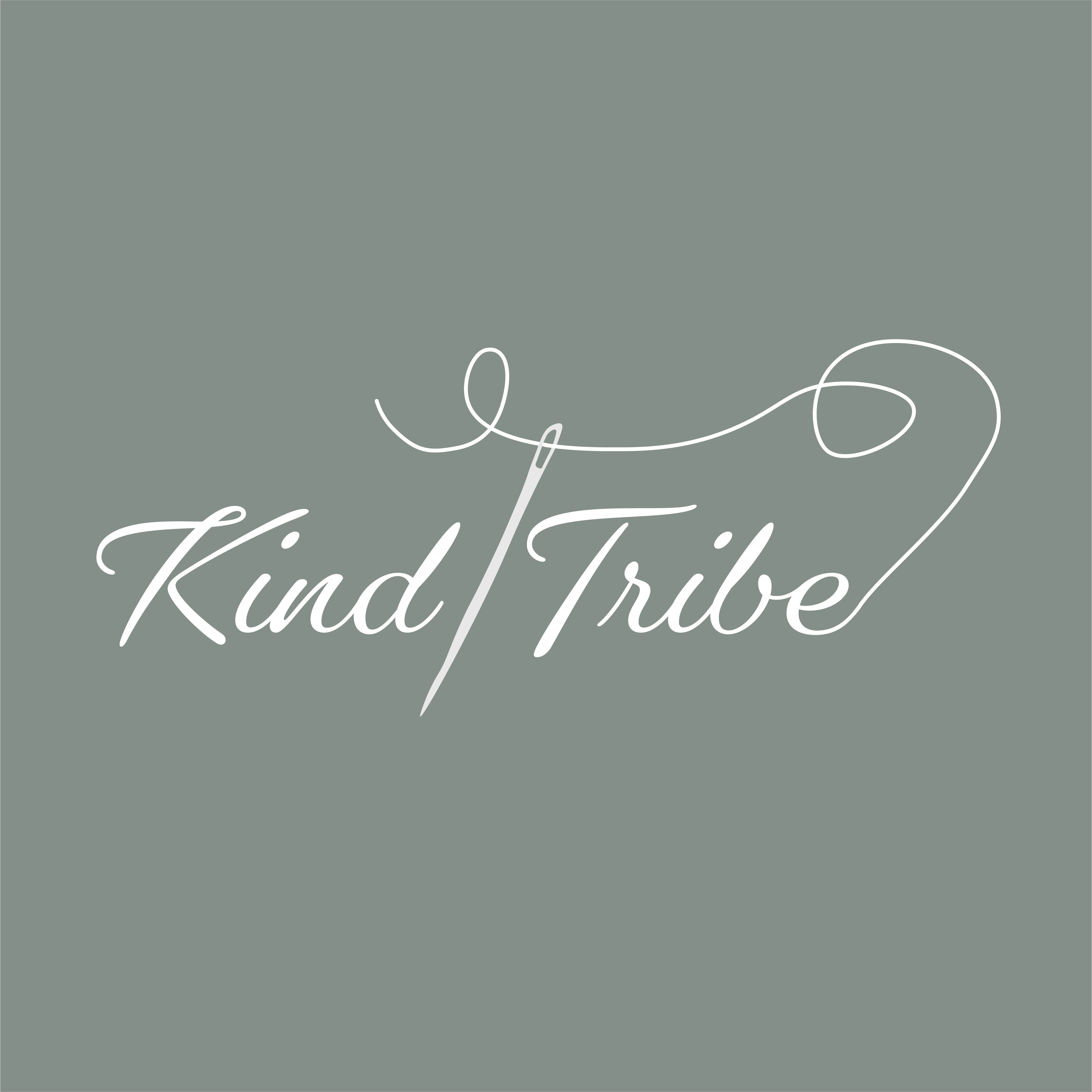 A logo design for a knitting company with a thread going through a needle