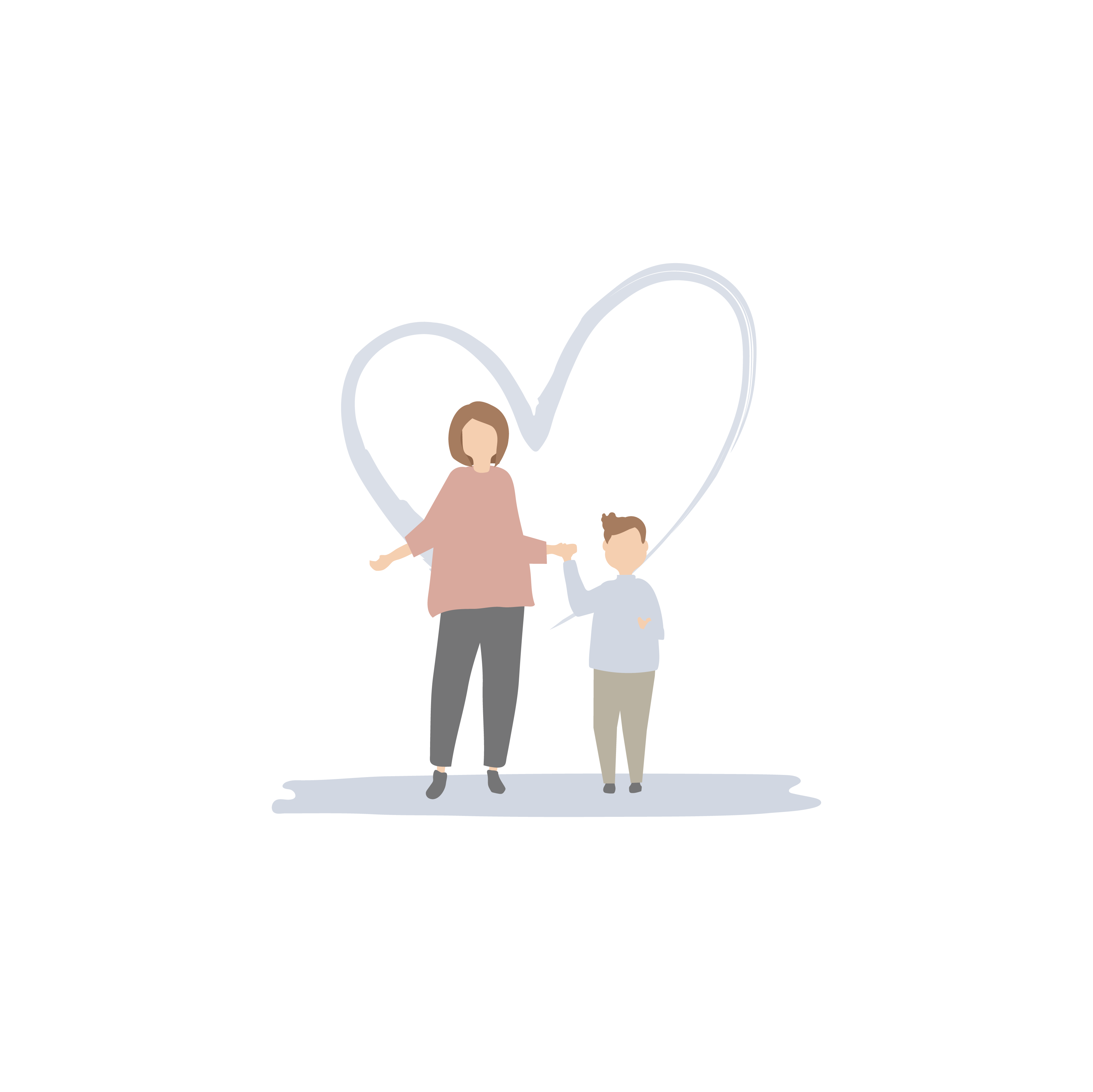 An illustration of mother and son holding hands