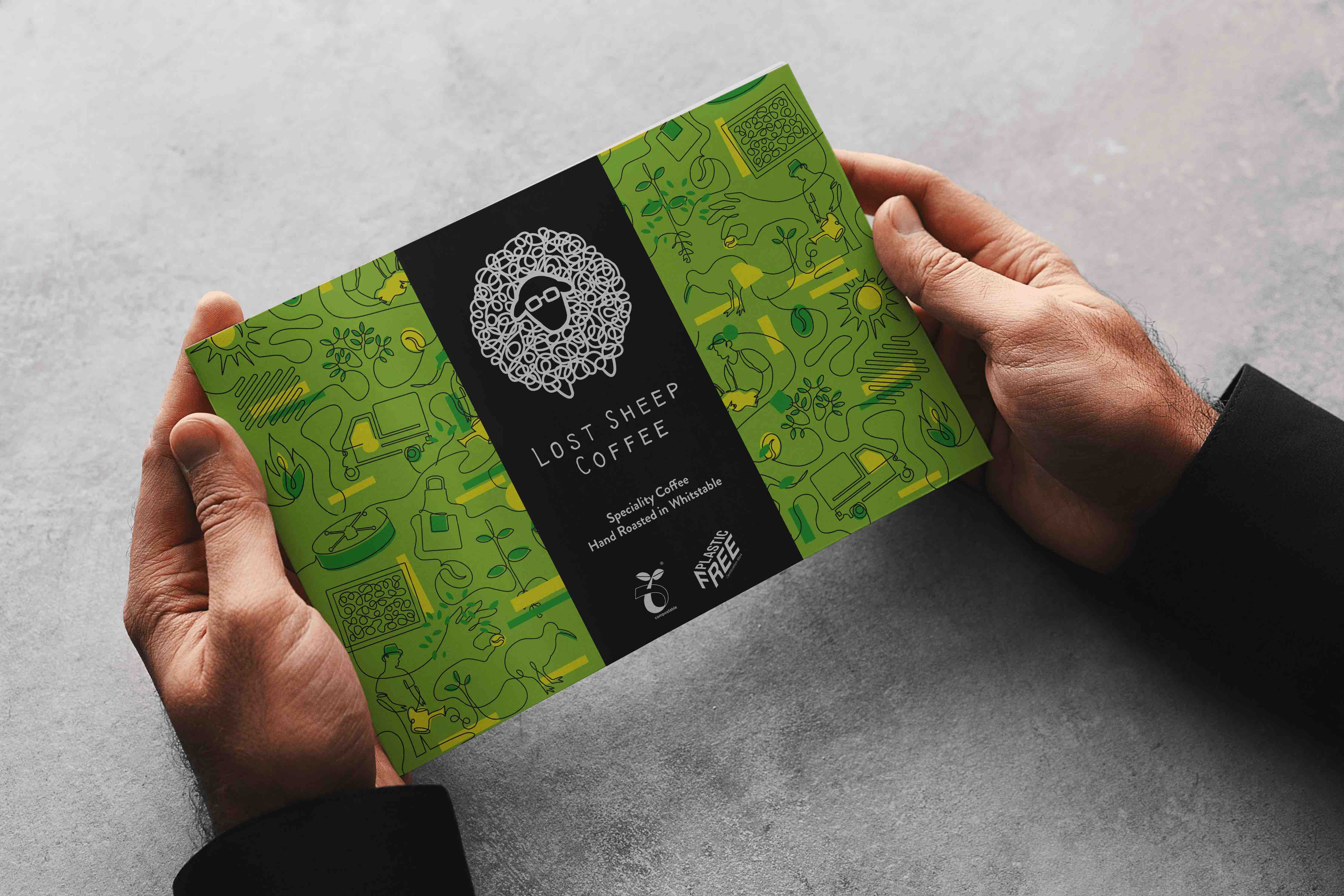 A brochure design with a sheep icon and modern illustrations in the style of lost sheep coffee packaging