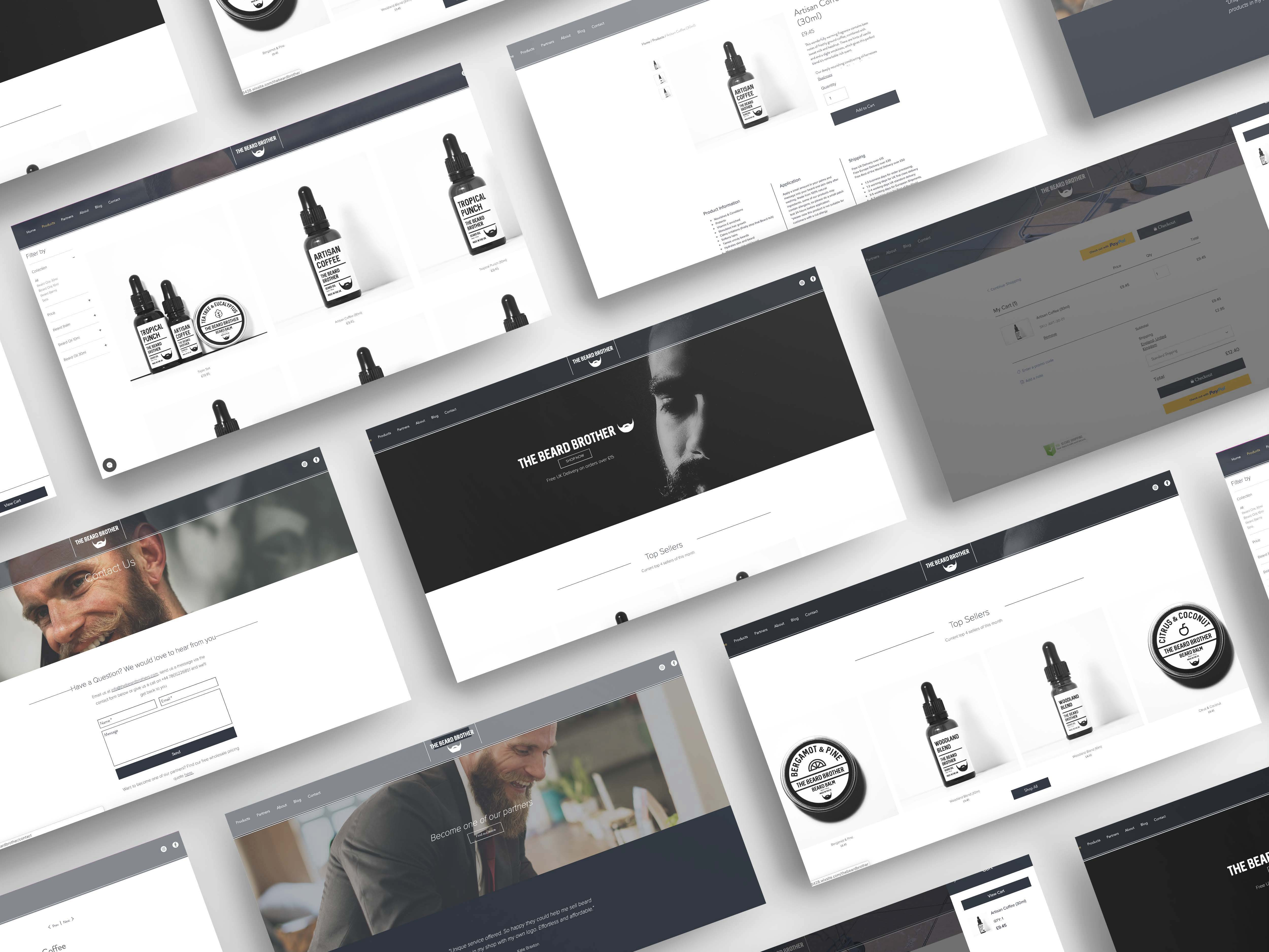 A web development design for a beard oil company displaying different images of pages on their website