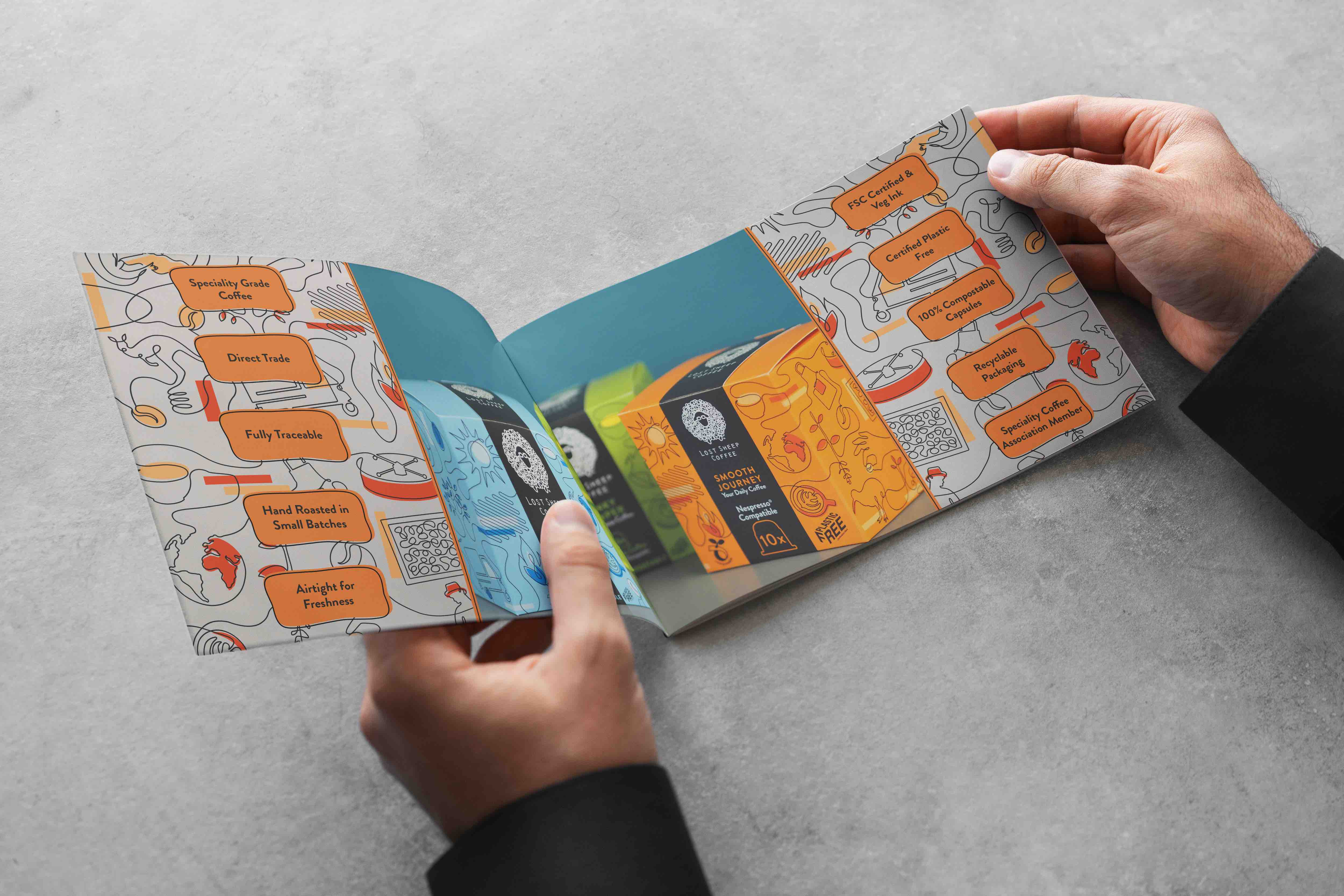 A brochure mockup of a quirky coffee booklet
