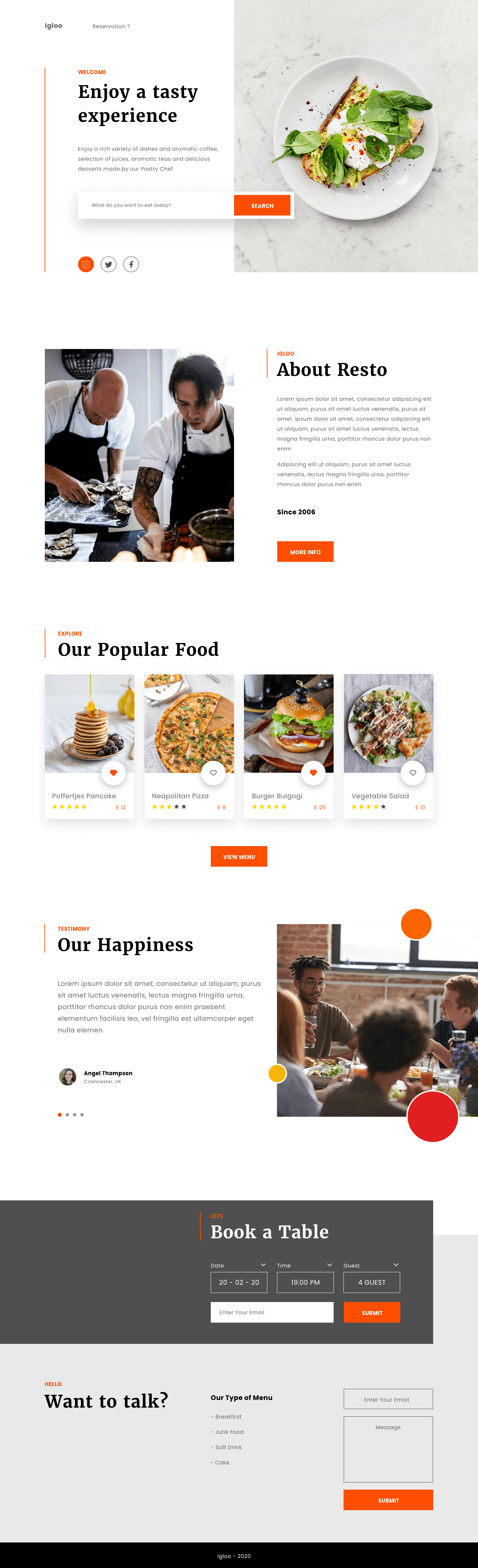 A restaurant landing page with delicious food and chefs cooking