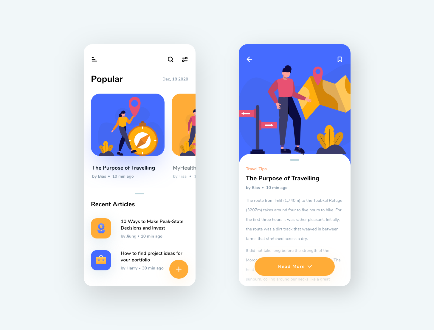 An app design for travellers with travel illustrations