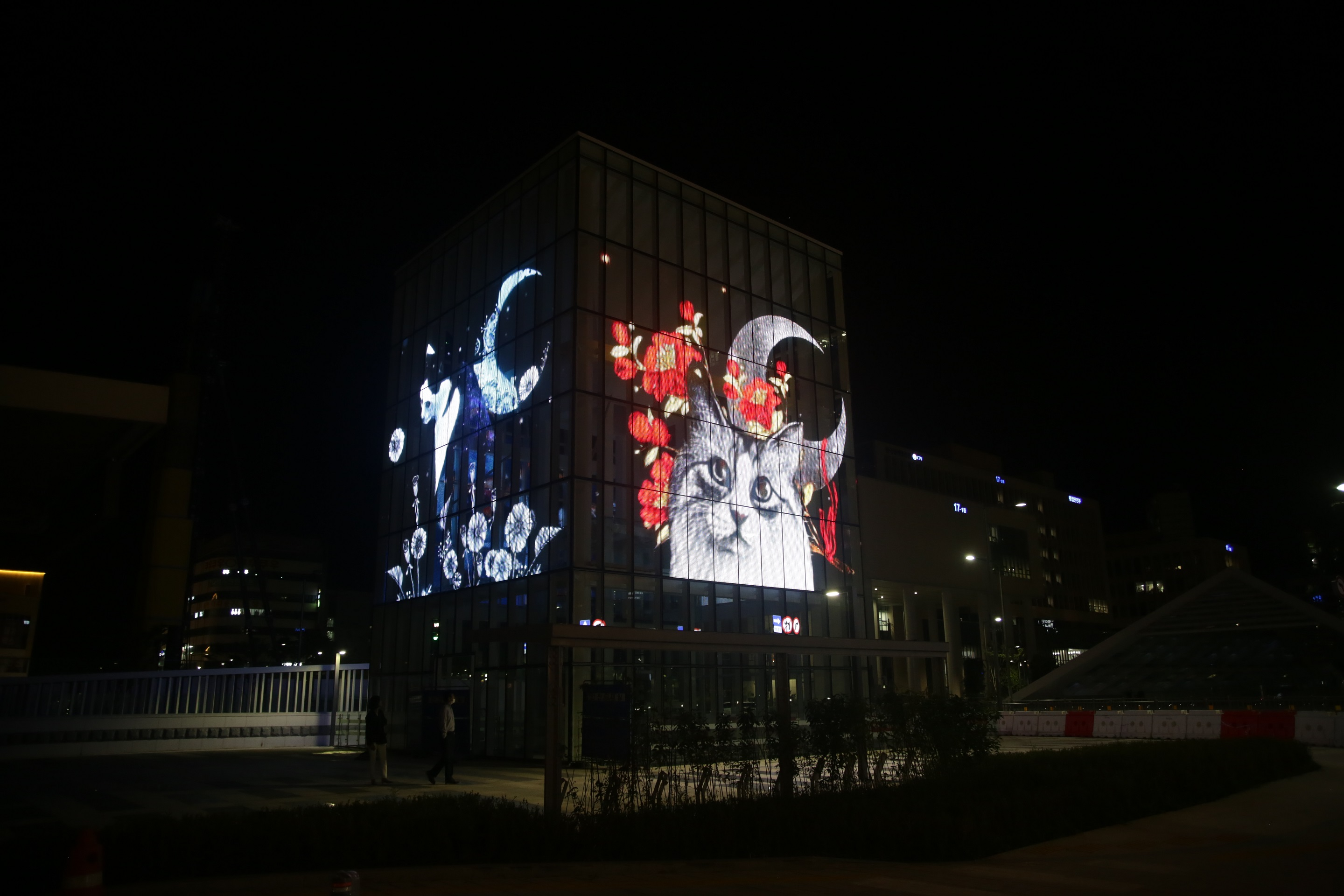 Architectural-grade LED glass, GLAAM Media Glass (G-Glass) featured at the Sejong Urban Square Media Cube, Sejong, South Korea