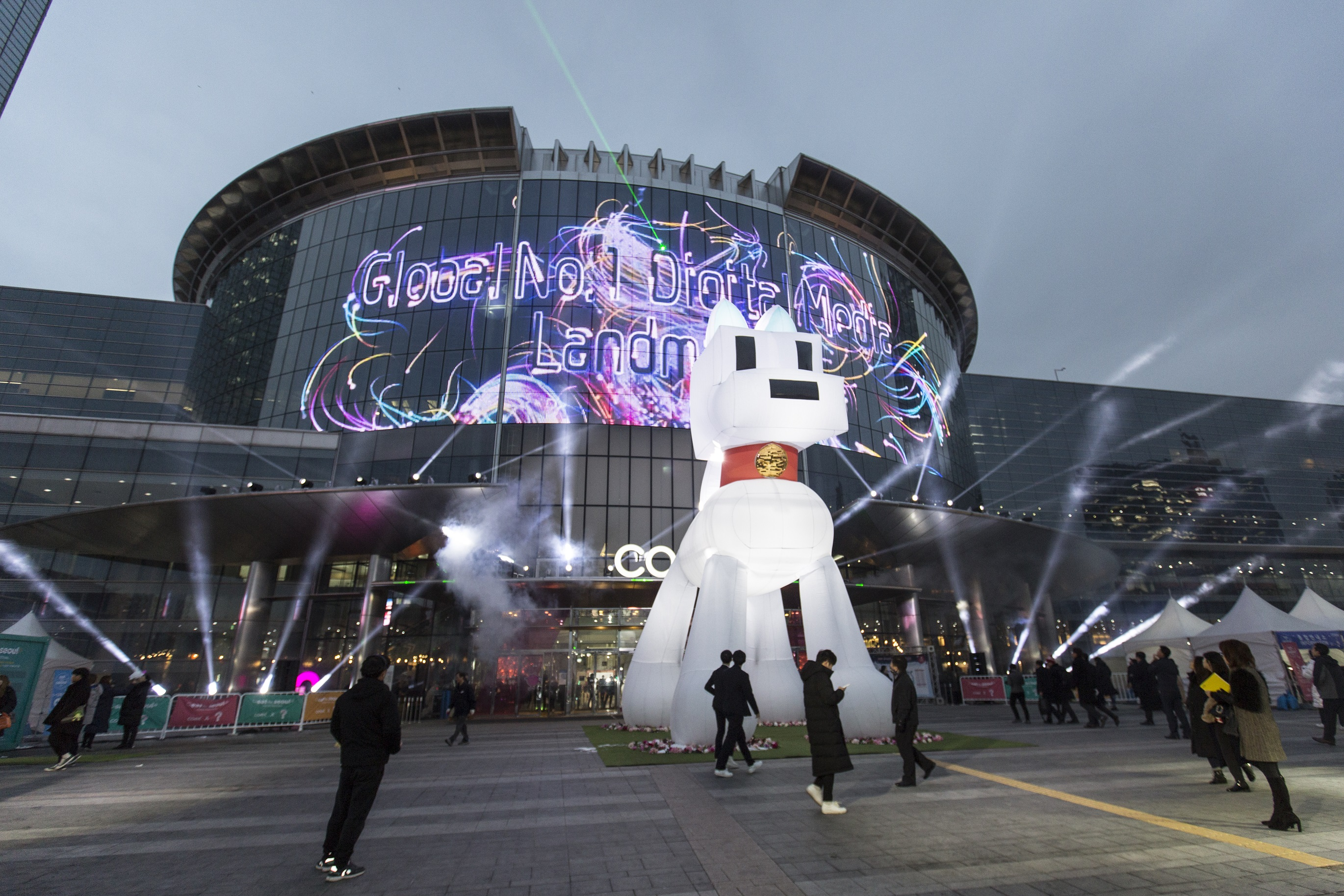 Architectural-grade LED glass, GLAAM Media Glass featured at the COEX Convention Center, Seoul, South Korea