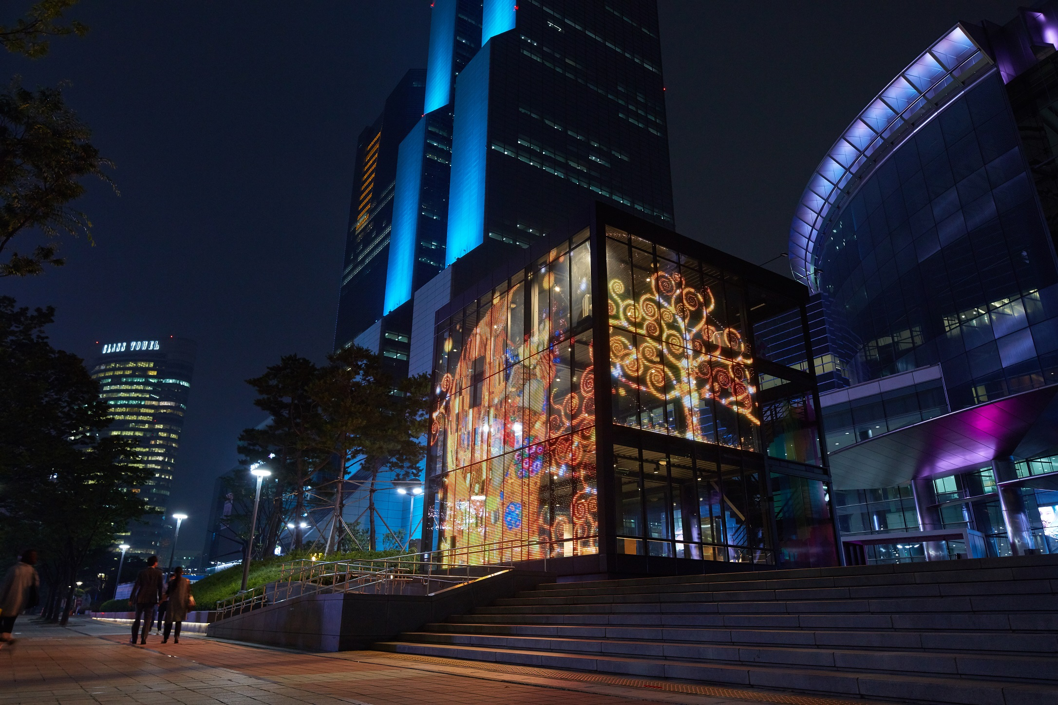 Architectural-grade LED glass, GLAAM Media Glass (G-Glass) featured at the a.COEX Convention Center Pop-Up G-Cube, Seoul, South Korea