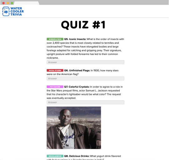 Screenshot of quiz page