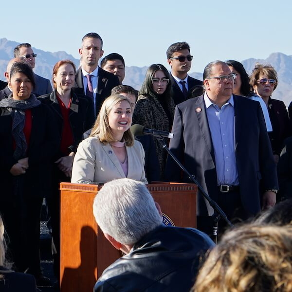 Phoenix Mayor Kate Gallego at outdoor podium speaks to crowd
