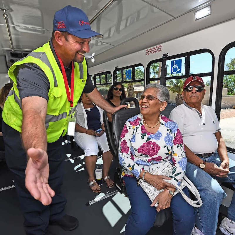 Valley Metro driver greeting riders
