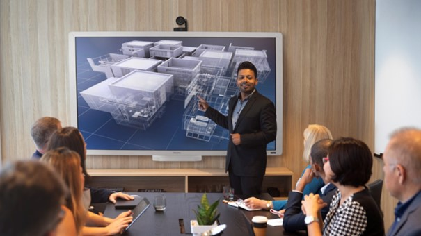 A meeting is held using one of our video conferencing solutions.