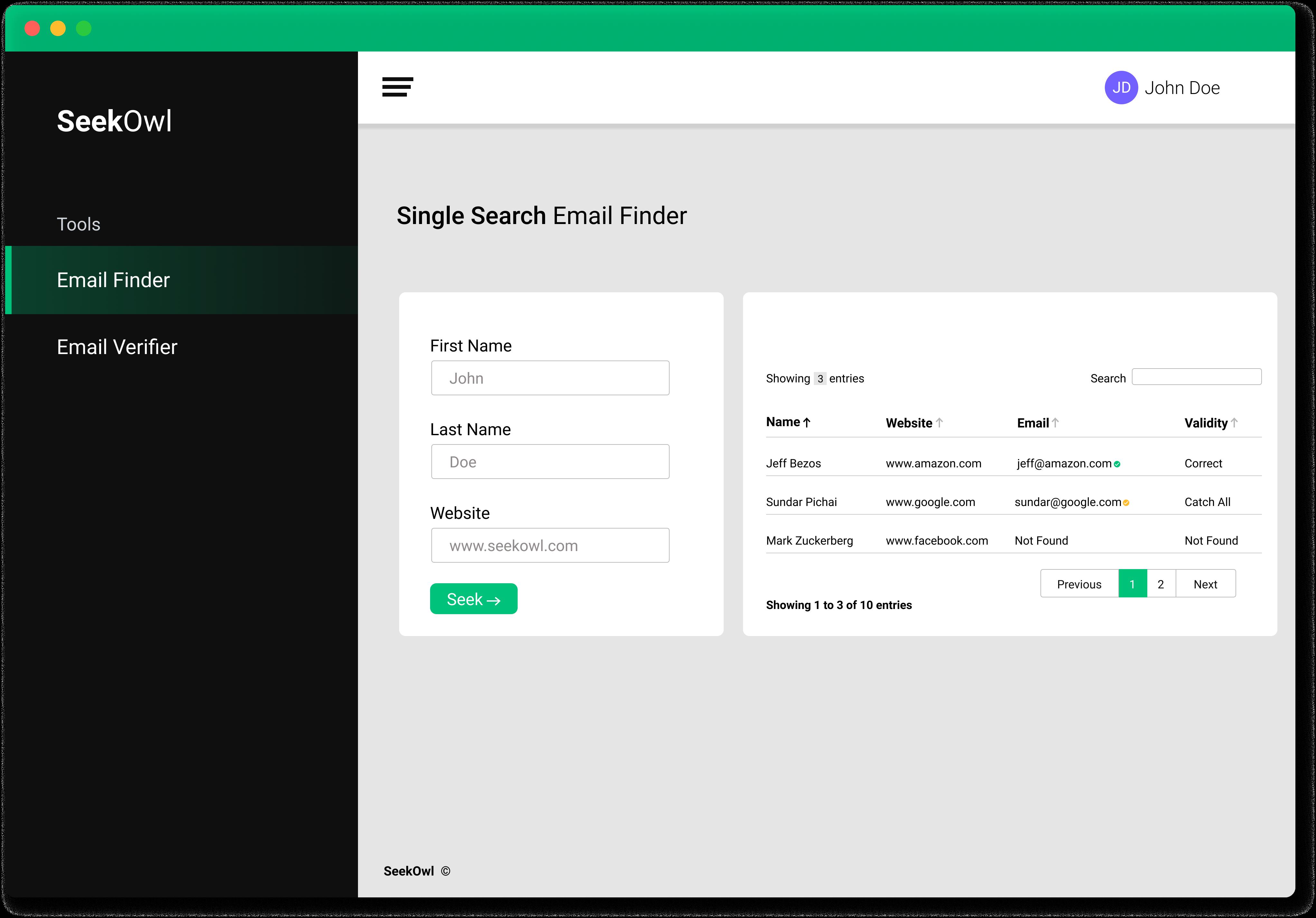 SeekOwl Single Work Email Finder Interface