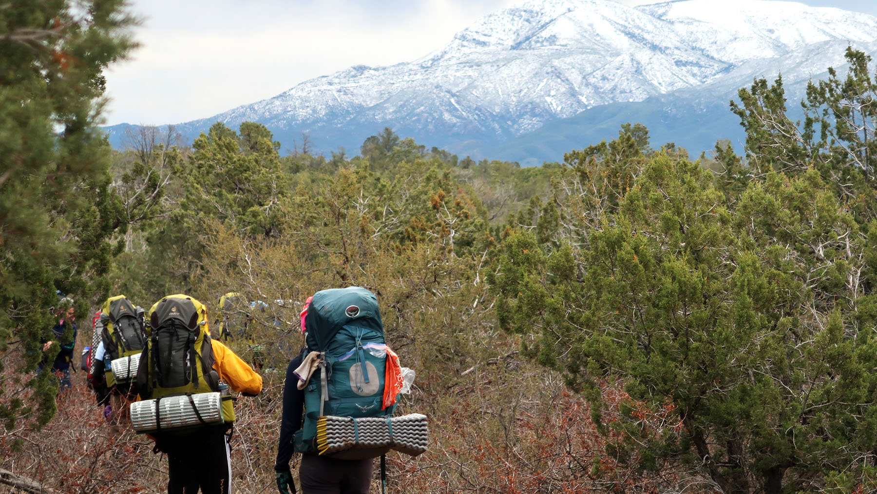 Two students backpacking with a large mountain backdrop