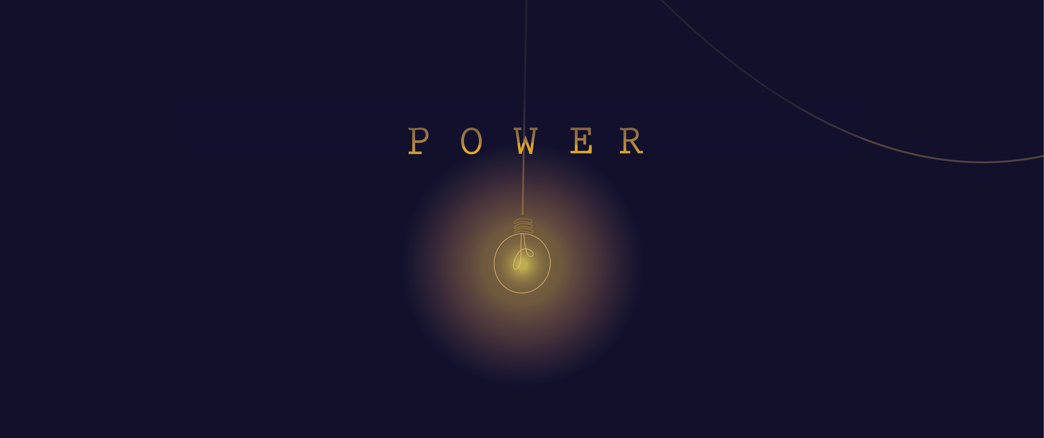 Power theme design with a lightbulb lit in darkness