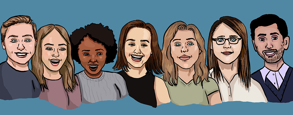 Drawing of history and documentation team's faces.