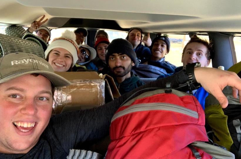 Arizona wilderness team piled in the van.