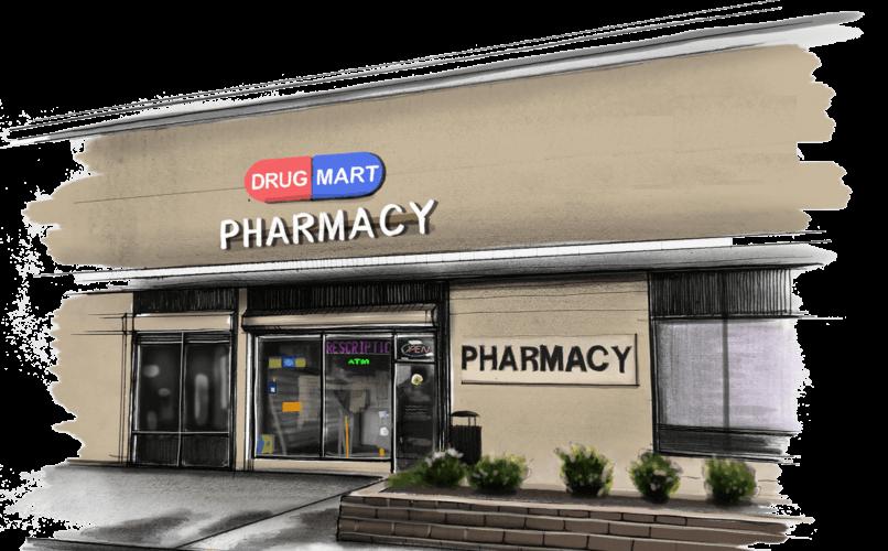Boceto de la farmacia de Drug Mart
