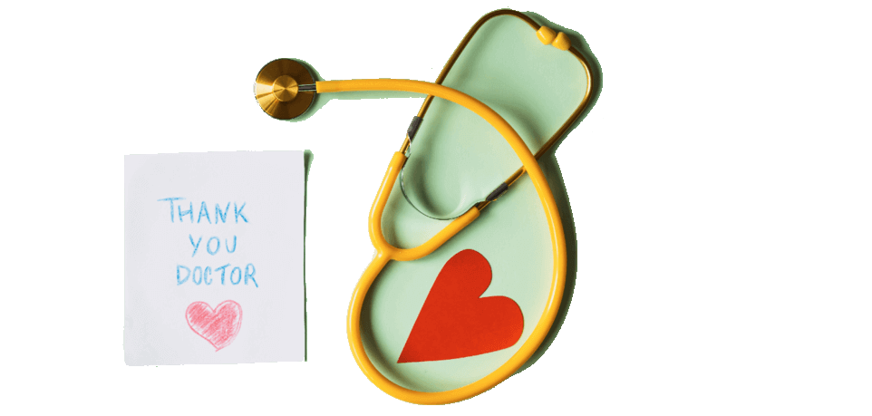 stethoscope and thank you note to doctor