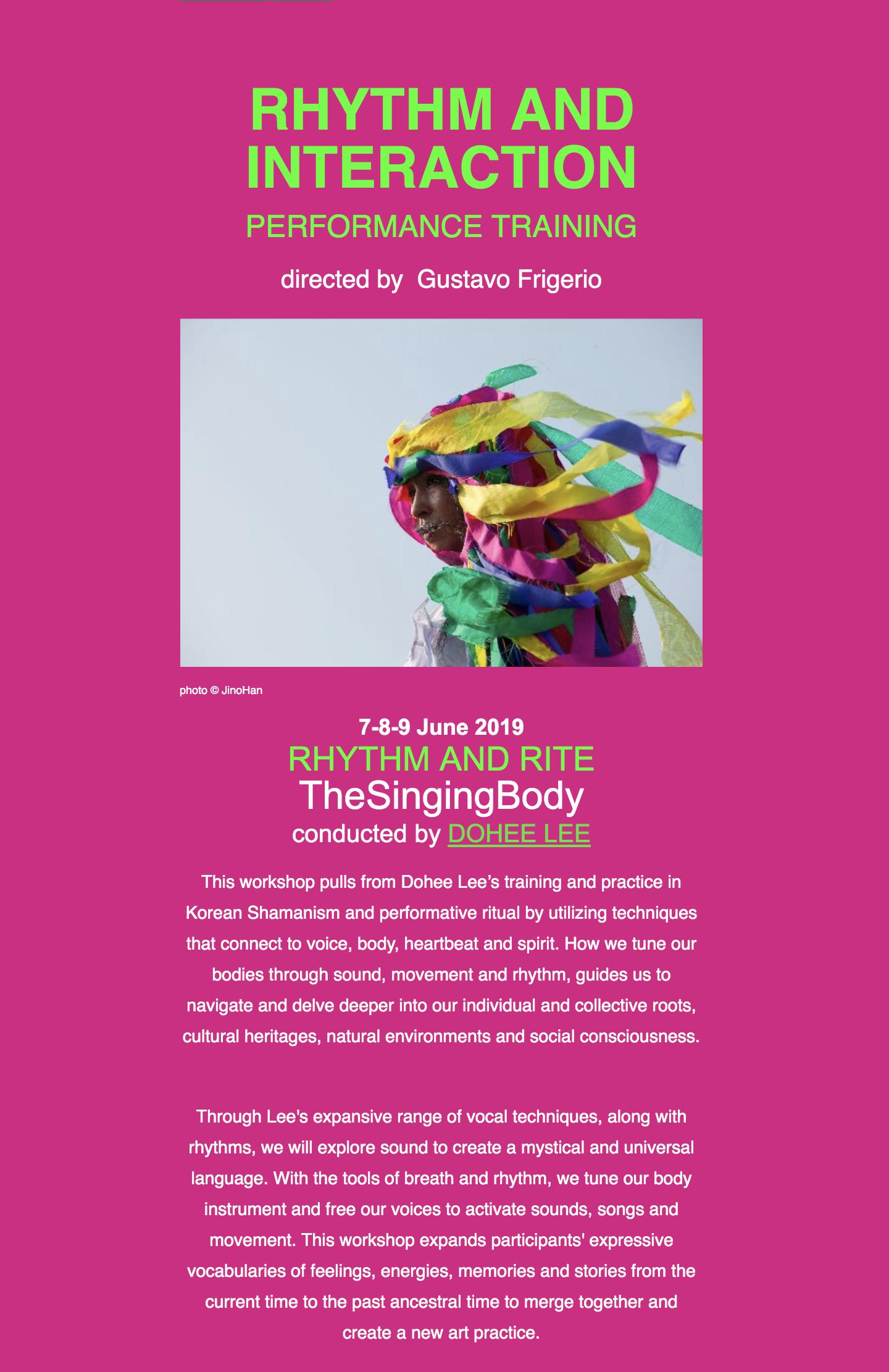 RITMO E RITO: The Singing Body Workshop