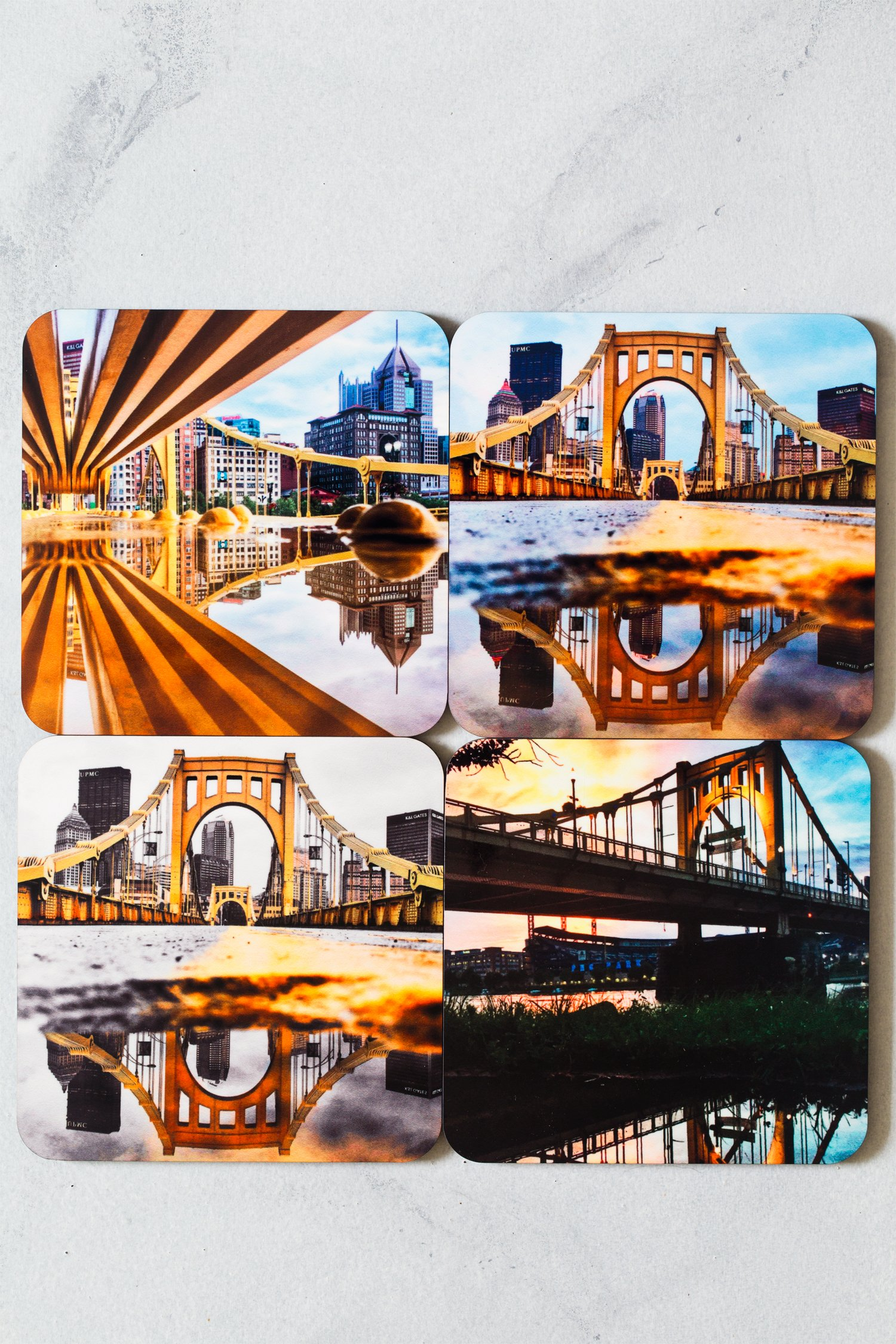 Set of 4 Pittsburgh Bridge Photo Coasters