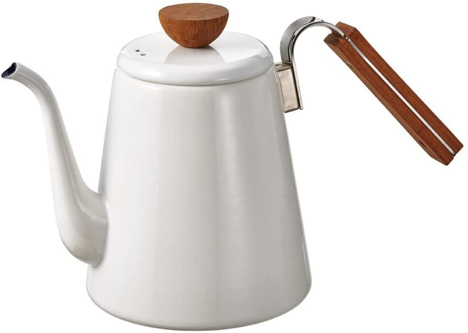 A white and wood finished pour-over coffee kettle