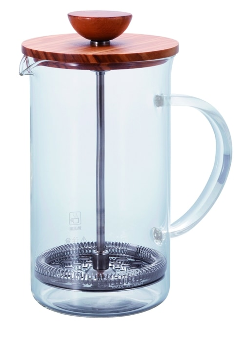 Glass tea press with wooden lid